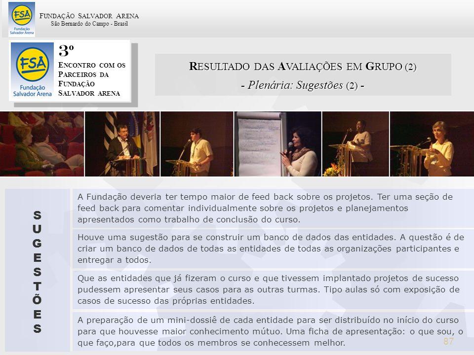 3º RESULTADO DAS AVALIAÇÕES EM GRUPO (2) - Plenária: Sugestões (2) - S