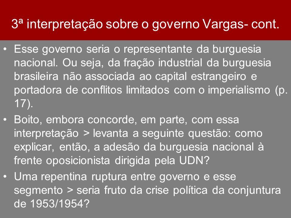 3ª interpretação sobre o governo Vargas- cont.