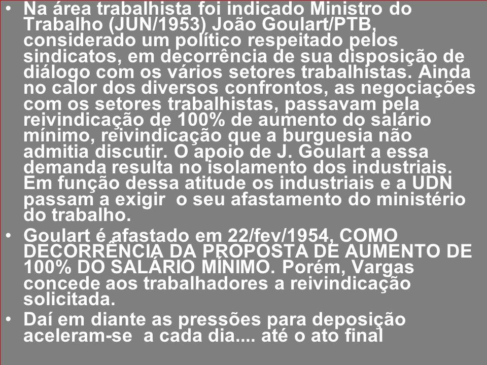 Na área trabalhista foi indicado Ministro do Trabalho (JUN/1953) João Goulart/PTB, considerado um político respeitado pelos sindicatos, em decorrência de sua disposição de diálogo com os vários setores trabalhistas. Ainda no calor dos diversos confrontos, as negociações com os setores trabalhistas, passavam pela reivindicação de 100% de aumento do salário mínimo, reivindicação que a burguesia não admitia discutir. O apoio de J. Goulart a essa demanda resulta no isolamento dos industriais. Em função dessa atitude os industriais e a UDN passam a exigir o seu afastamento do ministério do trabalho.