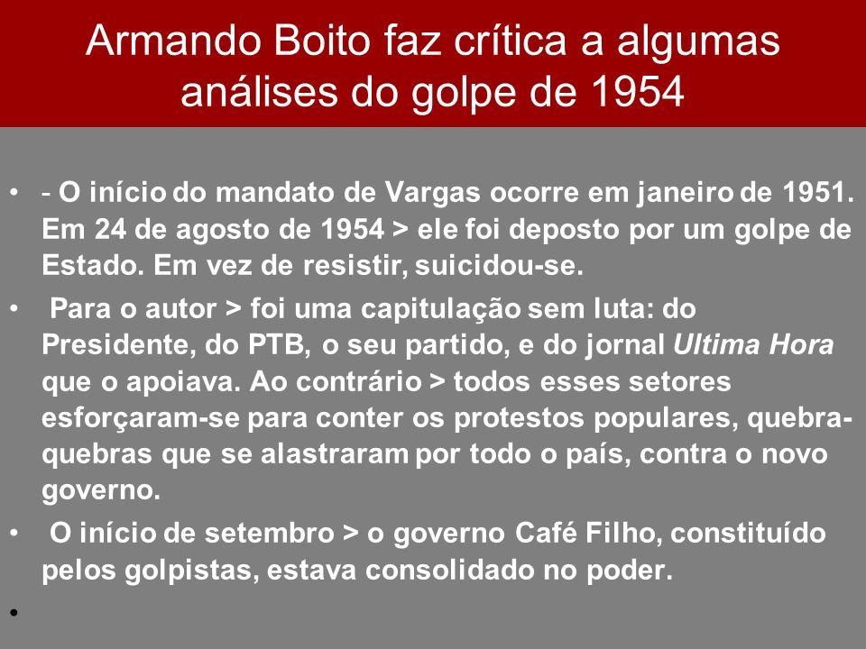 Armando Boito faz crítica a algumas análises do golpe de 1954