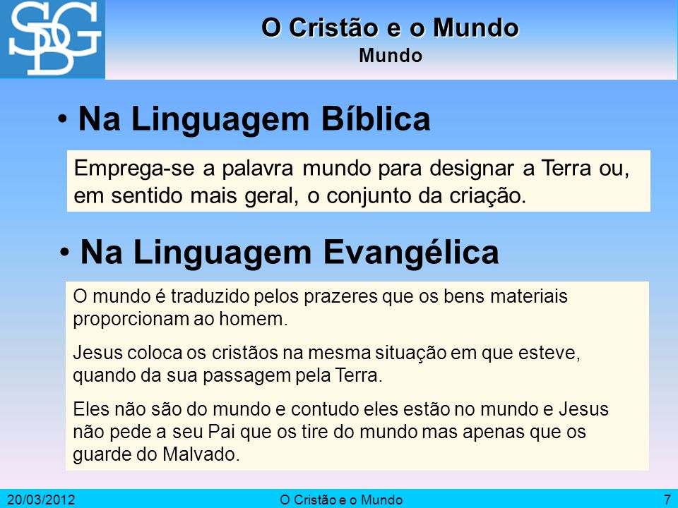 Na Linguagem Evangélica