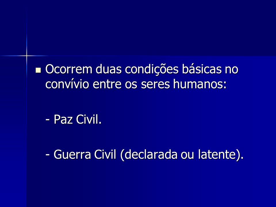 Ocorrem duas condições básicas no convívio entre os seres humanos: