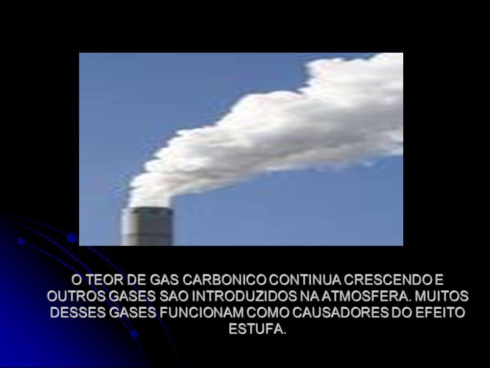 O TEOR DE GAS CARBONICO CONTINUA CRESCENDO E OUTROS GASES SAO INTRODUZIDOS NA ATMOSFERA.