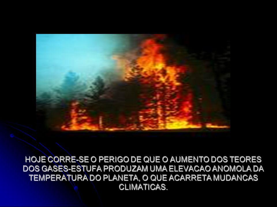 HOJE CORRE-SE O PERIGO DE QUE O AUMENTO DOS TEORES DOS GASES-ESTUFA PRODUZAM UMA ELEVACAO ANOMOLA DA TEMPERATURA DO PLANETA, O QUE ACARRETA MUDANCAS CLIMATICAS.