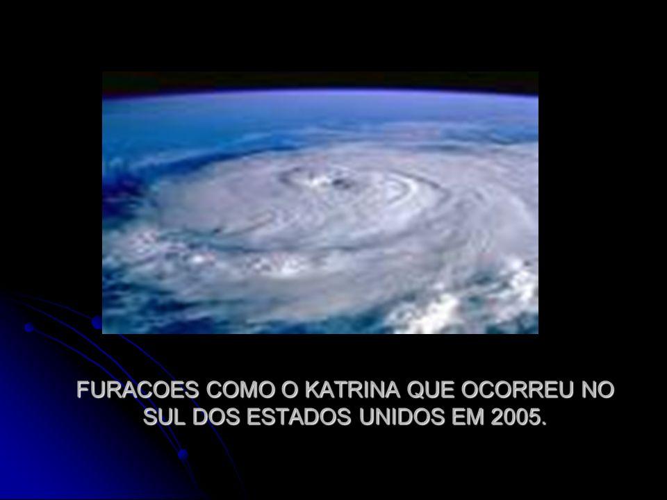 FURACOES COMO O KATRINA QUE OCORREU NO SUL DOS ESTADOS UNIDOS EM 2005.