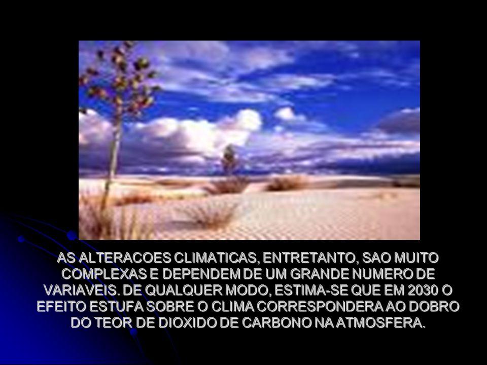 AS ALTERACOES CLIMATICAS, ENTRETANTO, SAO MUITO COMPLEXAS E DEPENDEM DE UM GRANDE NUMERO DE VARIAVEIS.