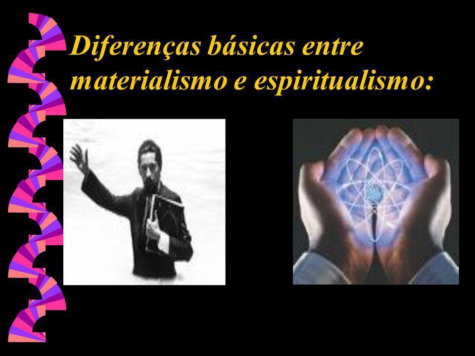 Diferenças básicas entre materialismo e espiritualismo: