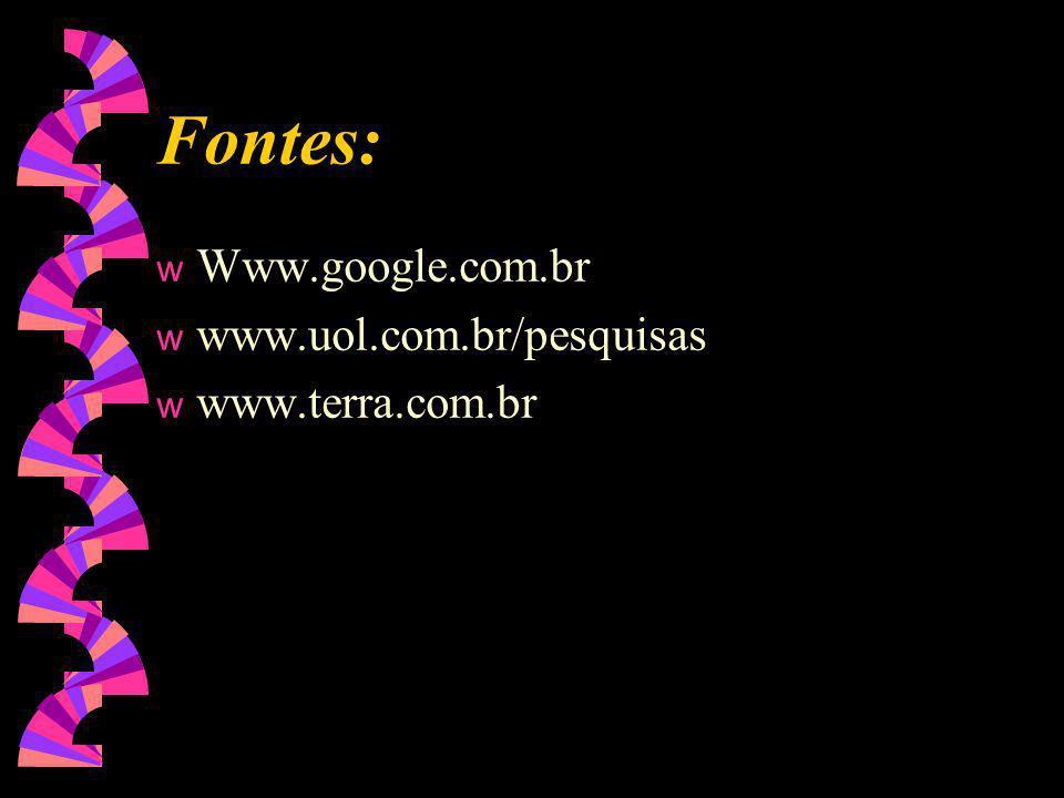 Fontes: Www.google.com.br www.uol.com.br/pesquisas www.terra.com.br 20
