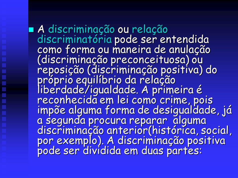 A discriminação ou relação discriminatória pode ser entendida como forma ou maneira de anulação (discriminação preconceituosa) ou reposição (discriminação positiva) do próprio equilíbrio da relação liberdade/igualdade.