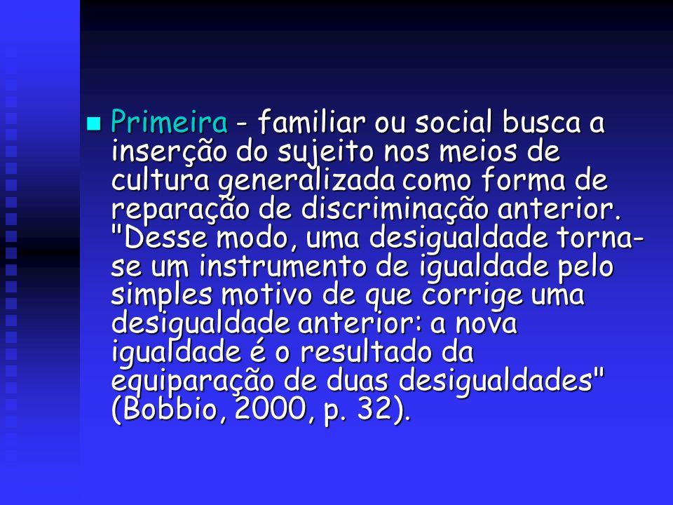 Primeira - familiar ou social busca a inserção do sujeito nos meios de cultura generalizada como forma de reparação de discriminação anterior.