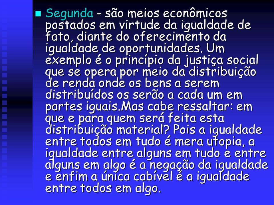 Segunda - são meios econômicos postados em virtude da igualdade de fato, diante do oferecimento da igualdade de oportunidades.
