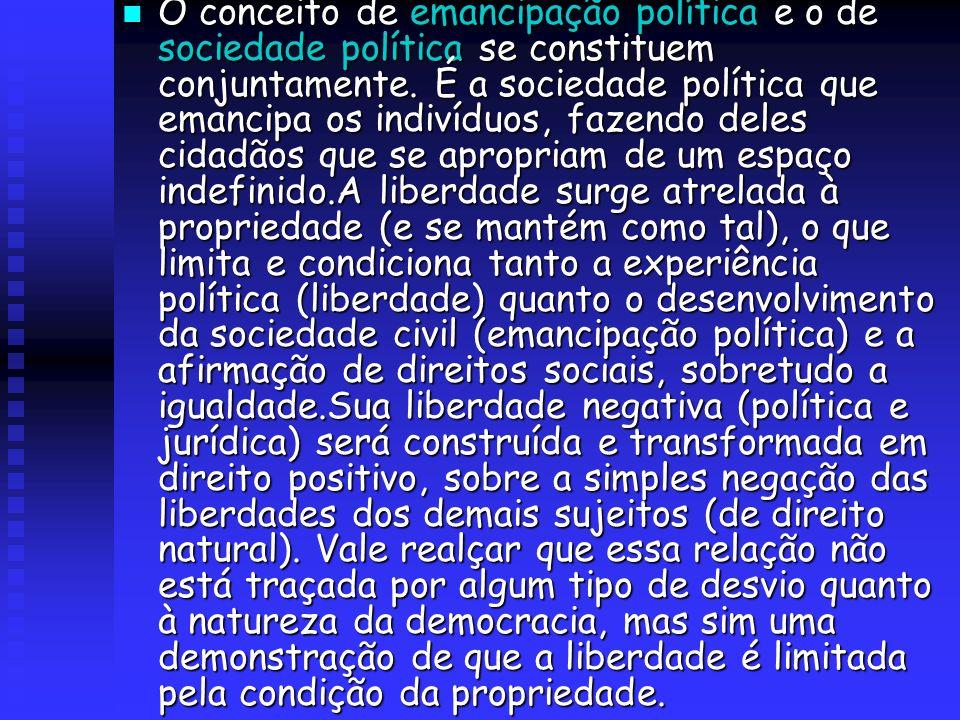 O conceito de emancipação política e o de sociedade política se constituem conjuntamente.