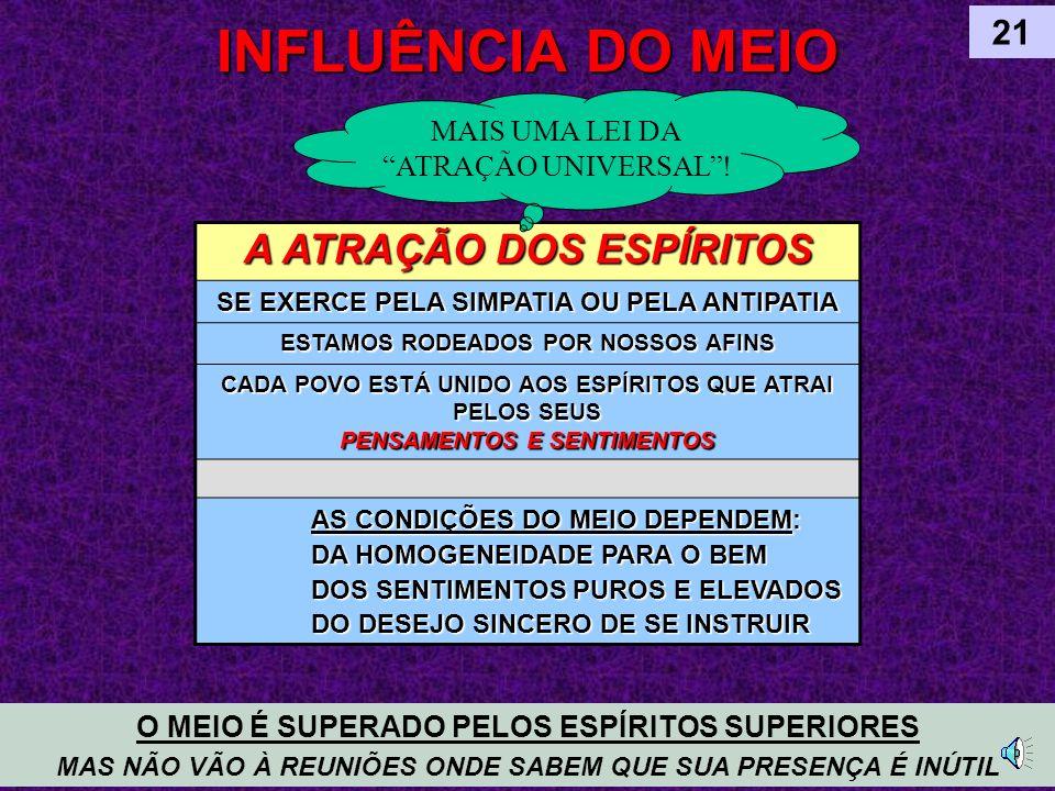 INFLUÊNCIA DO MEIO A ATRAÇÃO DOS ESPÍRITOS 21