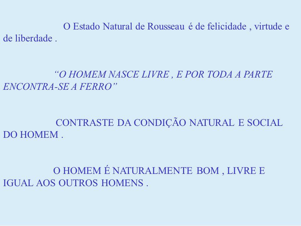 O Estado Natural de Rousseau é de felicidade , virtude e de liberdade .