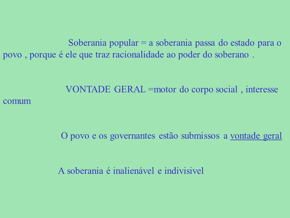 Soberania popular = a soberania passa do estado para o povo , porque é ele que traz racionalidade ao poder do soberano .