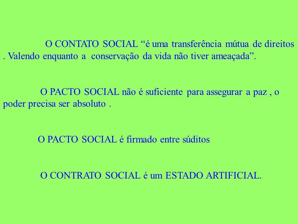 O CONTATO SOCIAL é uma transferência mútua de direitos