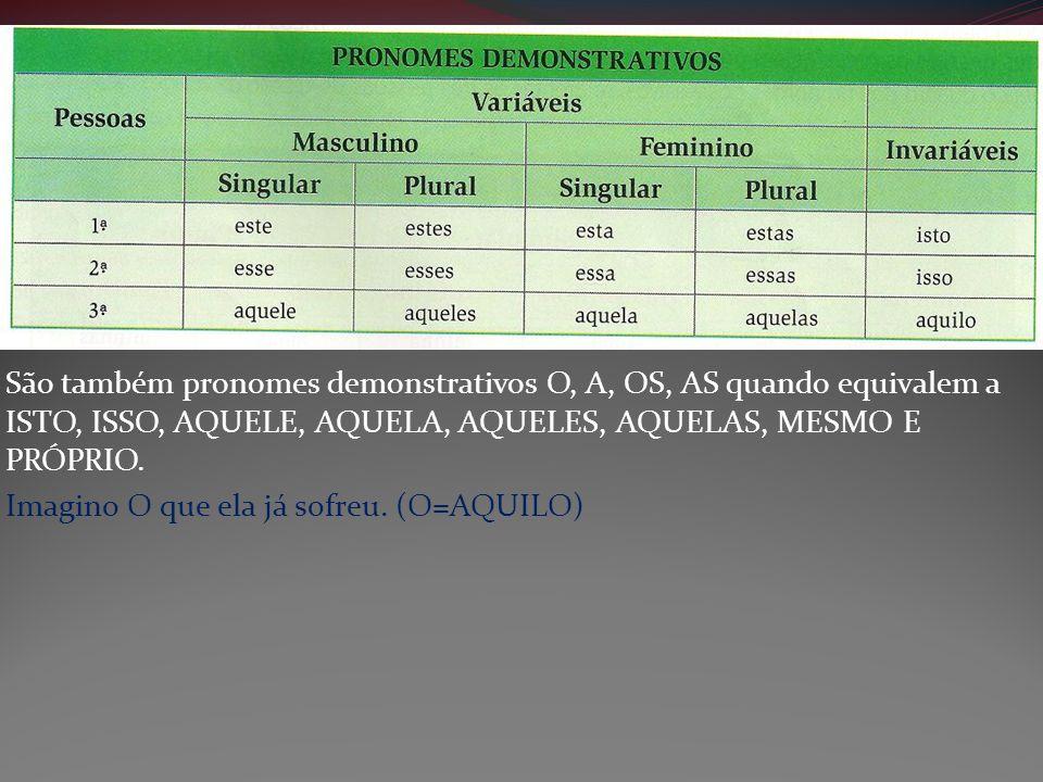São também pronomes demonstrativos O, A, OS, AS quando equivalem a ISTO, ISSO, AQUELE, AQUELA, AQUELES, AQUELAS, MESMO E PRÓPRIO.