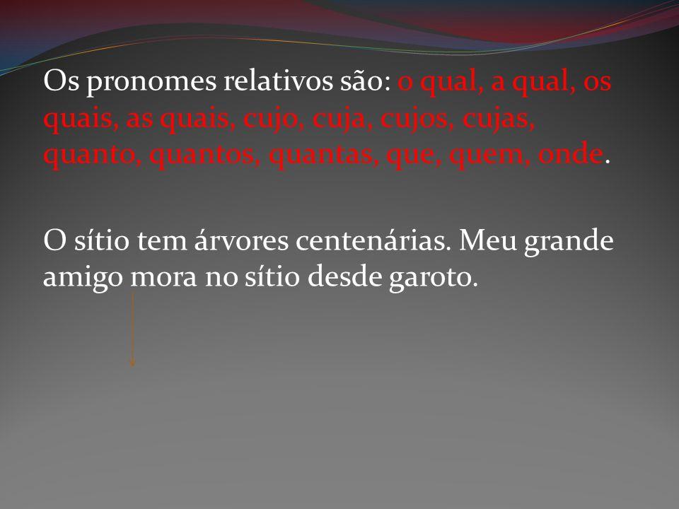 Os pronomes relativos são: o qual, a qual, os quais, as quais, cujo, cuja, cujos, cujas, quanto, quantos, quantas, que, quem, onde.