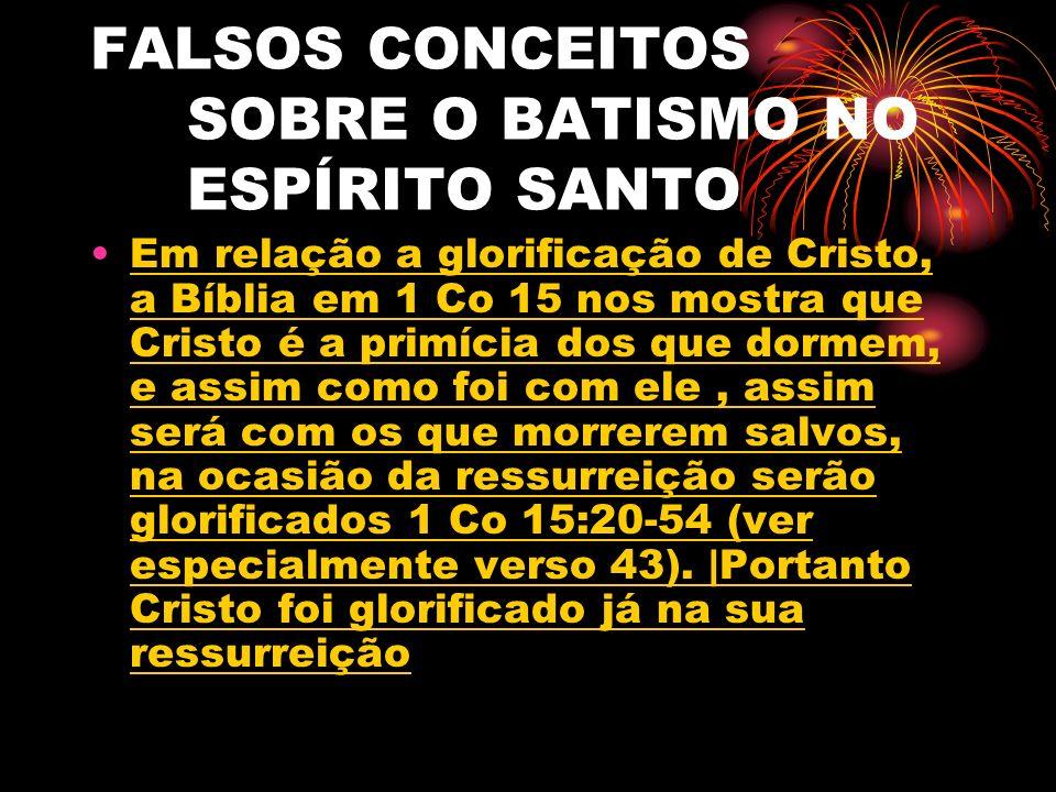 FALSOS CONCEITOS SOBRE O BATISMO NO ESPÍRITO SANTO
