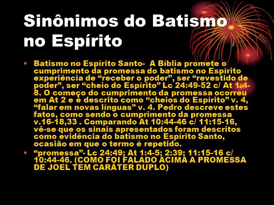 Sinônimos do Batismo no Espírito
