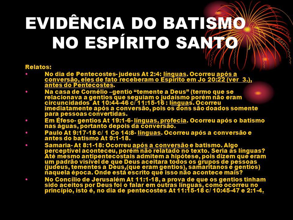 EVIDÊNCIA DO BATISMO NO ESPÍRITO SANTO