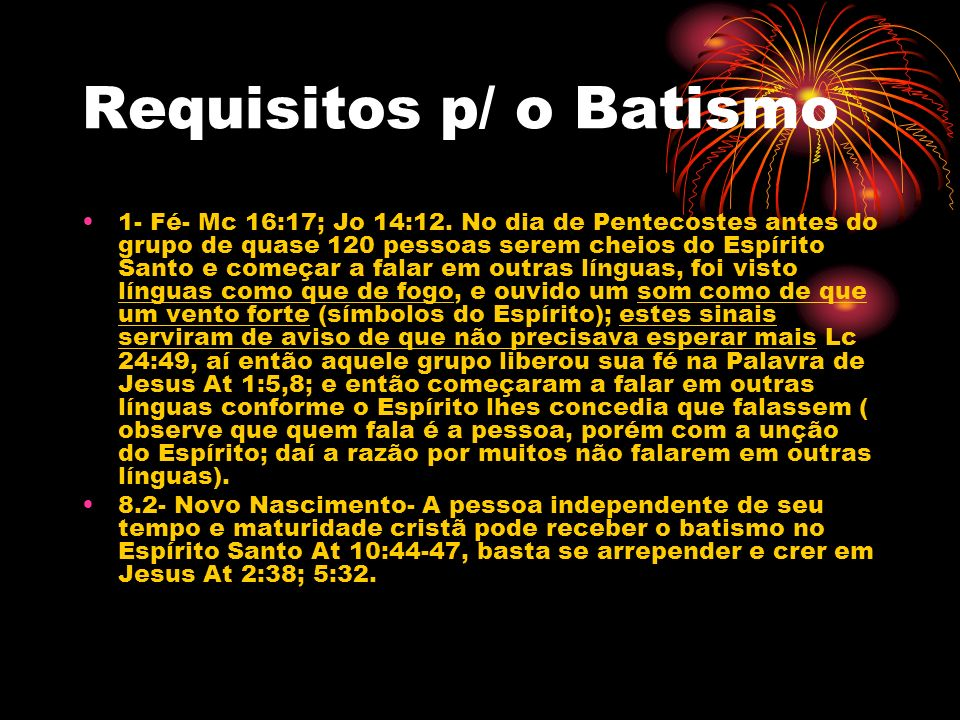 Requisitos p/ o Batismo