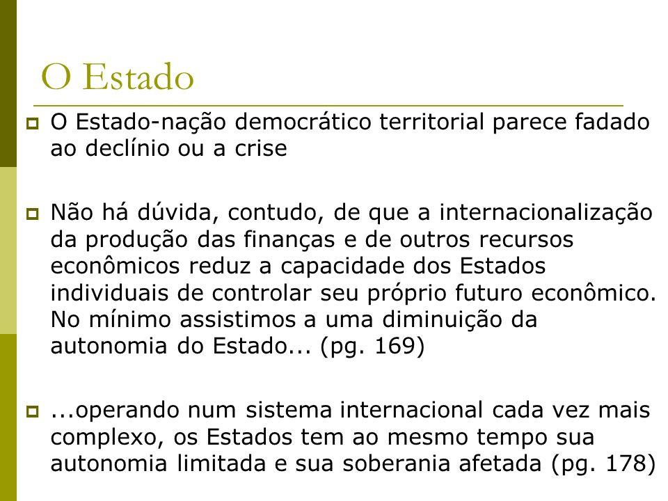 O Estado O Estado-nação democrático territorial parece fadado ao declínio ou a crise.