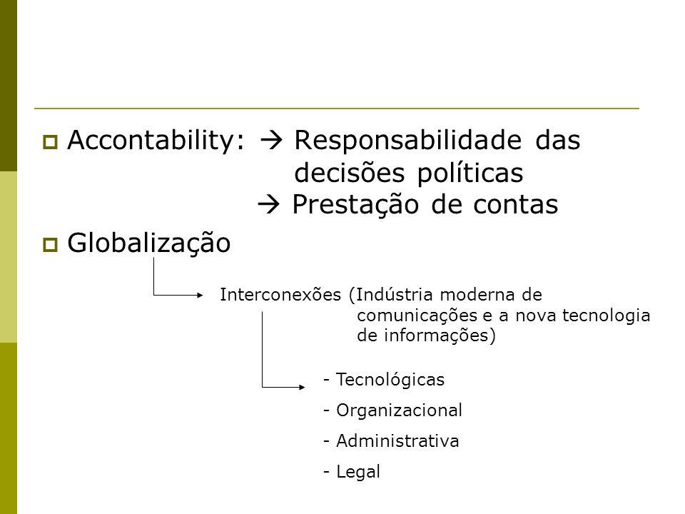 Accontability:  Responsabilidade das. decisões políticas
