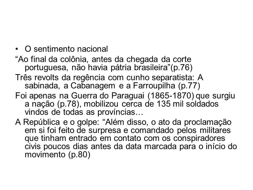O sentimento nacional Ao final da colônia, antes da chegada da corte portuguesa, não havia pátria brasileira (p.76)