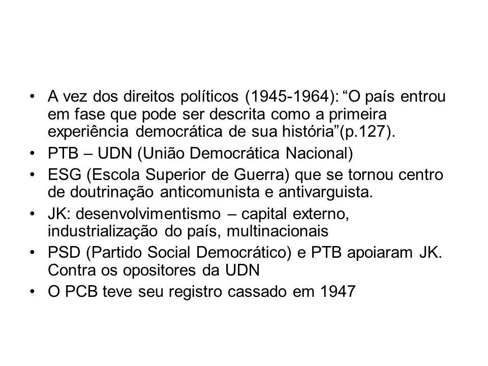 A vez dos direitos políticos (1945-1964): O país entrou em fase que pode ser descrita como a primeira experiência democrática de sua história (p.127).