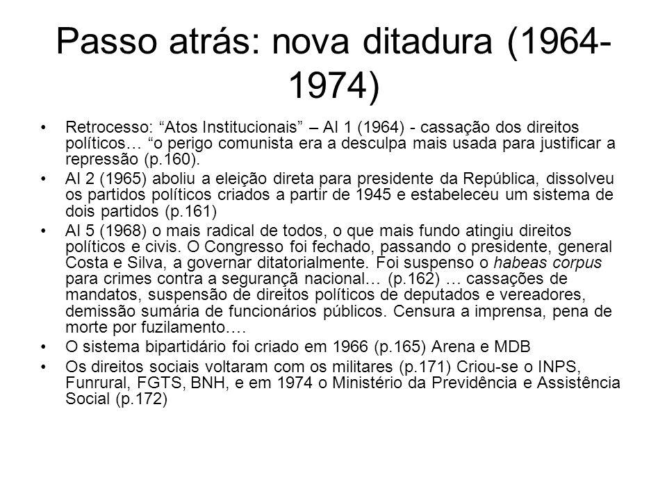 Passo atrás: nova ditadura (1964-1974)