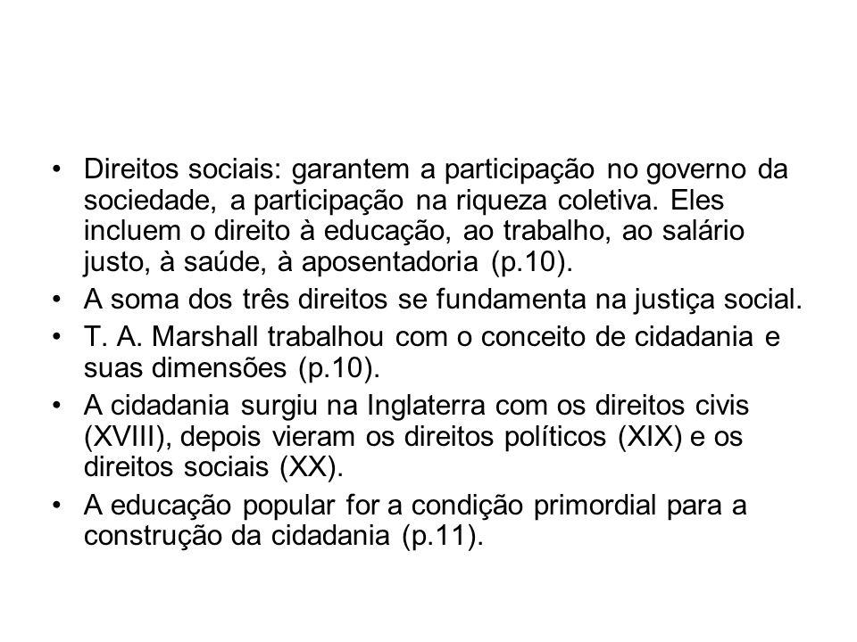 Direitos sociais: garantem a participação no governo da sociedade, a participação na riqueza coletiva. Eles incluem o direito à educação, ao trabalho, ao salário justo, à saúde, à aposentadoria (p.10).