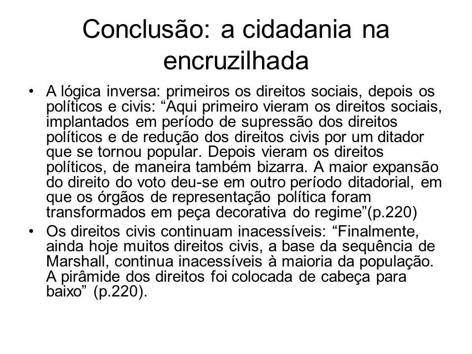 Conclusão: a cidadania na encruzilhada