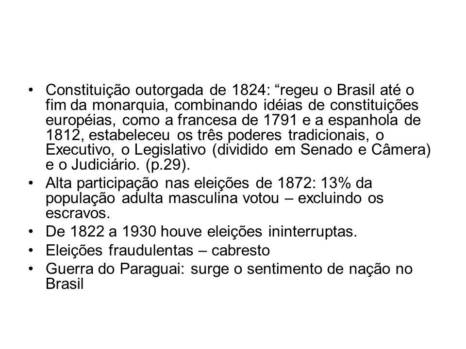 Constituição outorgada de 1824: regeu o Brasil até o fim da monarquia, combinando idéias de constituições européias, como a francesa de 1791 e a espanhola de 1812, estabeleceu os três poderes tradicionais, o Executivo, o Legislativo (dividido em Senado e Câmera) e o Judiciário. (p.29).