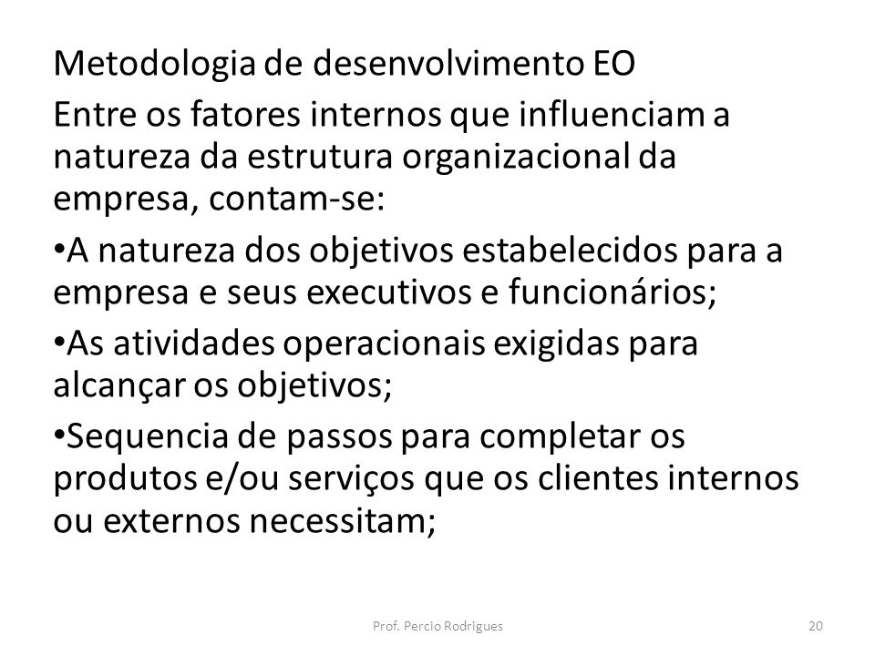 Metodologia de desenvolvimento EO