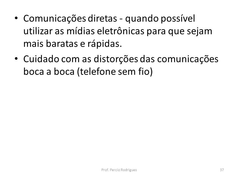 Comunicações diretas - quando possível utilizar as mídias eletrônicas para que sejam mais baratas e rápidas.
