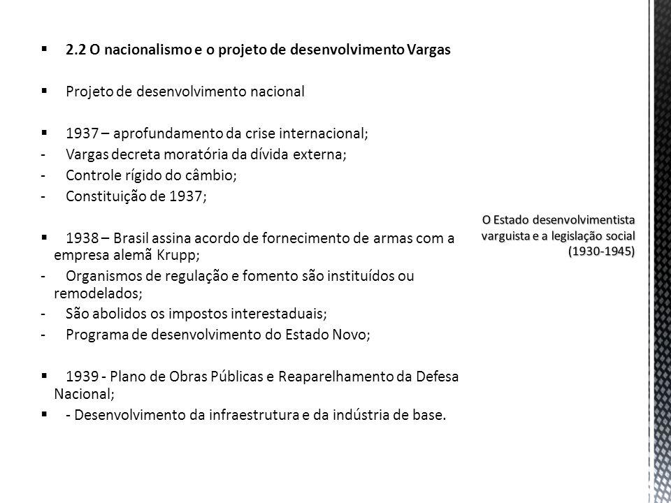 2.2 O nacionalismo e o projeto de desenvolvimento Vargas