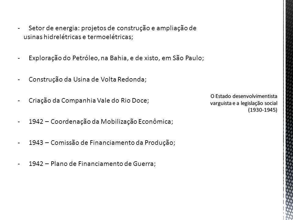 Exploração do Petróleo, na Bahia, e de xisto, em São Paulo;
