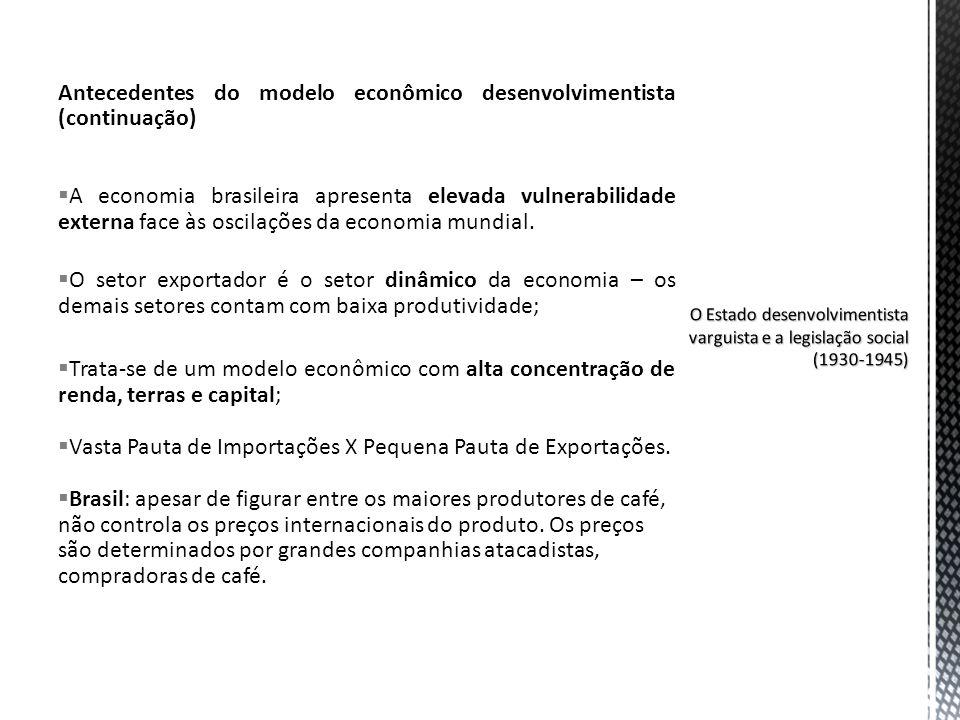 Antecedentes do modelo econômico desenvolvimentista (continuação)