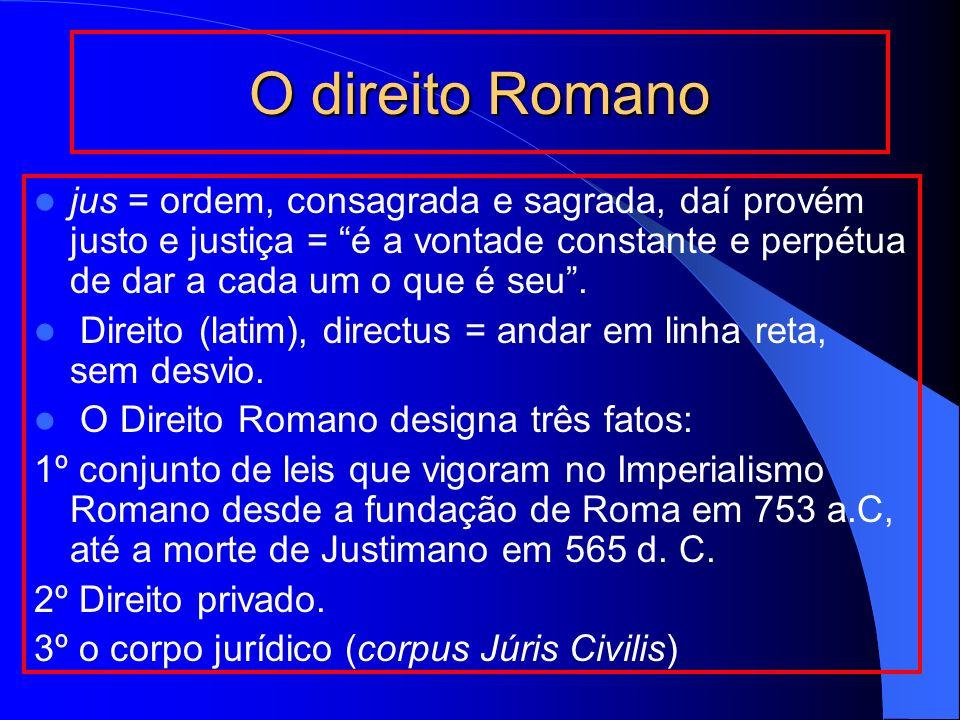 O direito Romano jus = ordem, consagrada e sagrada, daí provém justo e justiça = é a vontade constante e perpétua de dar a cada um o que é seu .