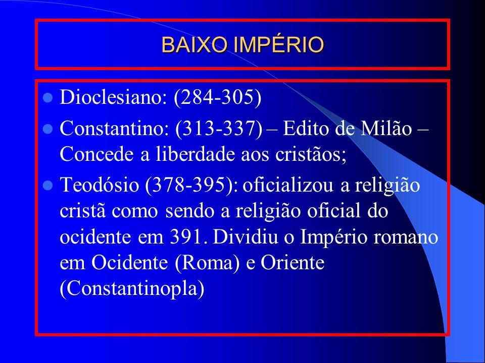 BAIXO IMPÉRIO Dioclesiano: (284-305) Constantino: (313-337) – Edito de Milão – Concede a liberdade aos cristãos;