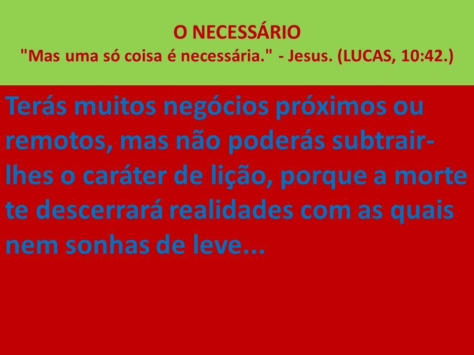 O NECESSÁRIO Mas uma só coisa é necessária. - Jesus. (LUCAS, 10:42.)