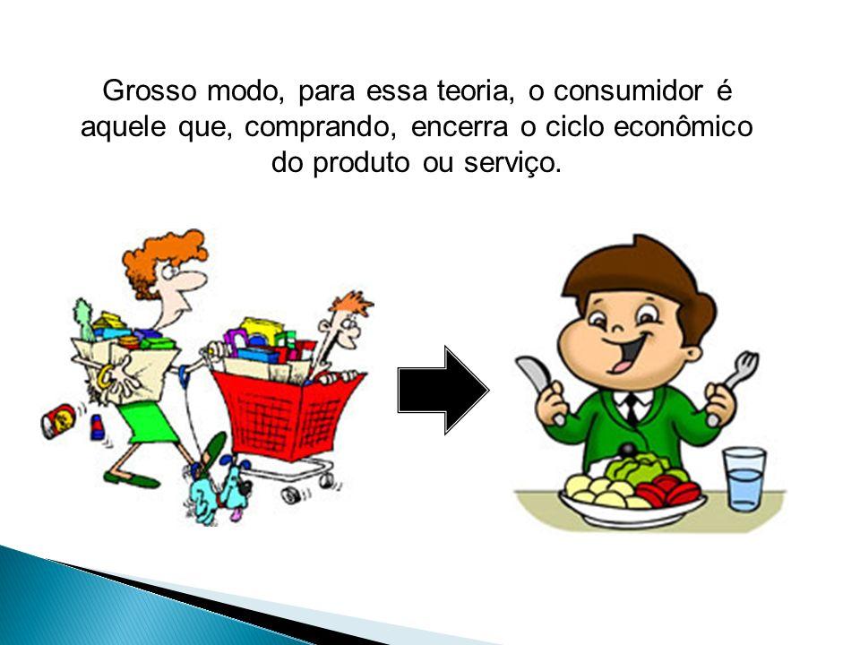 Grosso modo, para essa teoria, o consumidor é aquele que, comprando, encerra o ciclo econômico do produto ou serviço.