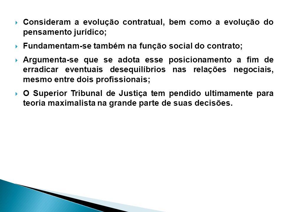 Consideram a evolução contratual, bem como a evolução do pensamento jurídico;