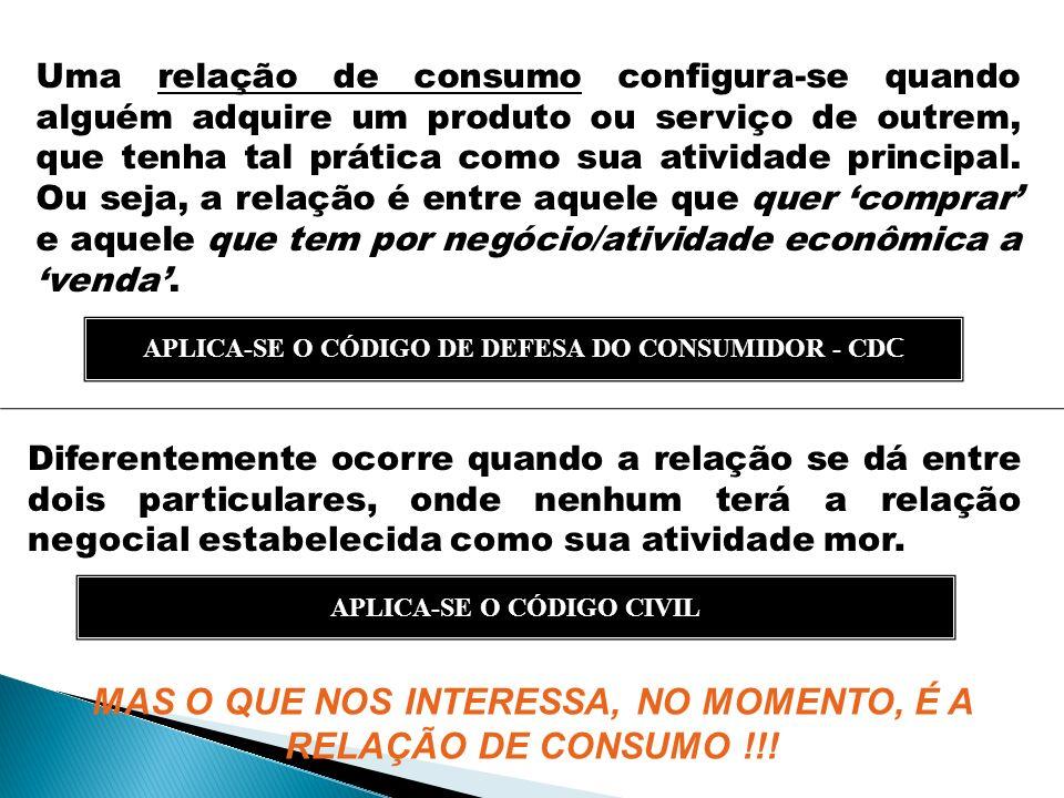 MAS O QUE NOS INTERESSA, NO MOMENTO, É A RELAÇÃO DE CONSUMO !!!