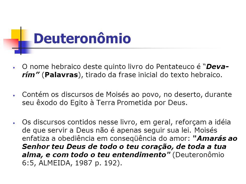 Deuteronômio O nome hebraico deste quinto livro do Pentateuco é Deva-rím (Palavras), tirado da frase inicial do texto hebraico.