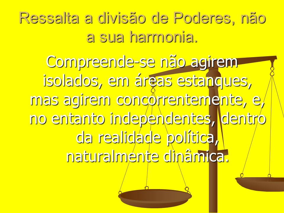 Ressalta a divisão de Poderes, não a sua harmonia.