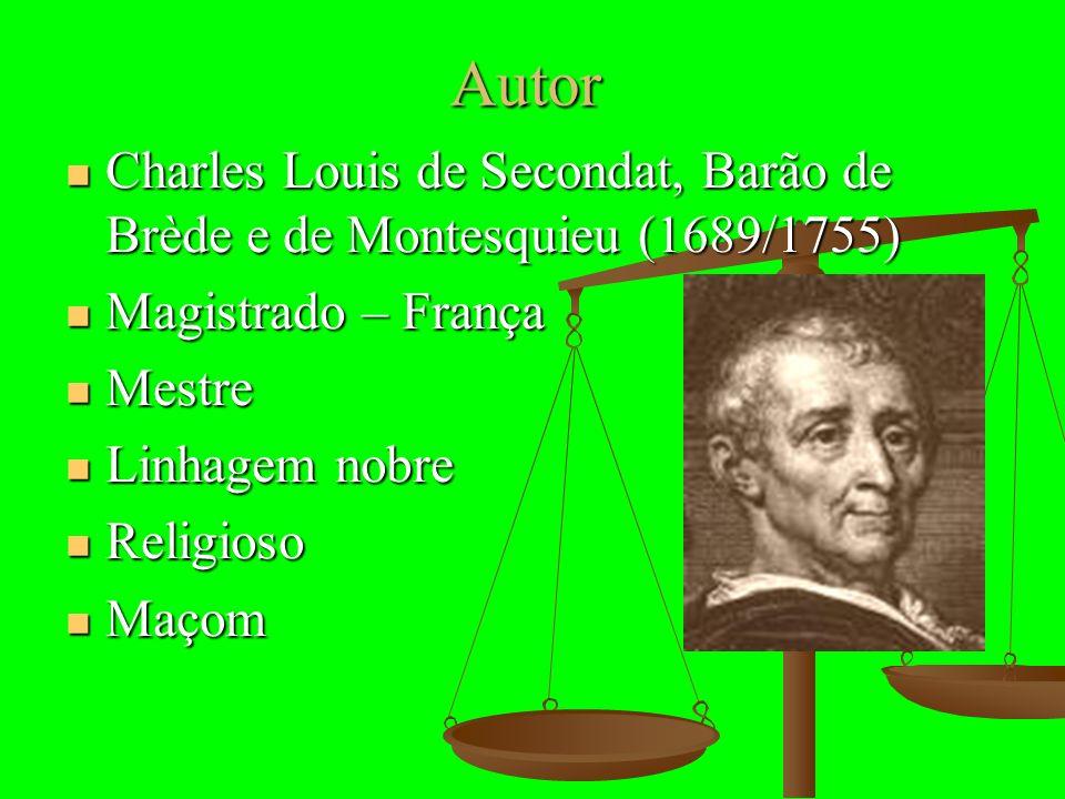 Autor Charles Louis de Secondat, Barão de Brède e de Montesquieu (1689/1755) Magistrado – França. Mestre.