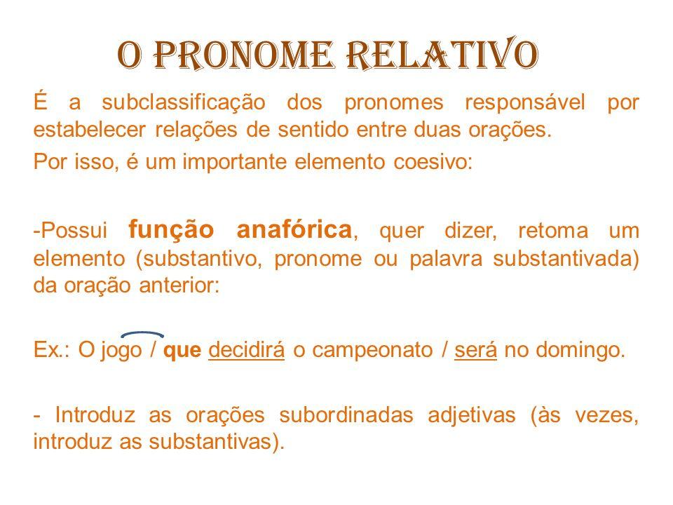 O PRONOME RELATIVO É a subclassificação dos pronomes responsável por estabelecer relações de sentido entre duas orações.