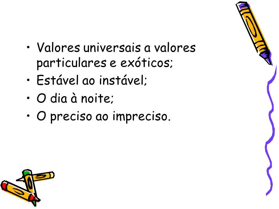 Valores universais a valores particulares e exóticos;